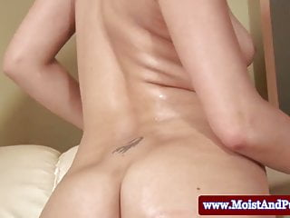 Blonde big taco hottie sticks toy in ass