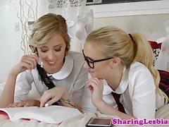 Lesbian schoolgirls scissor after fingering