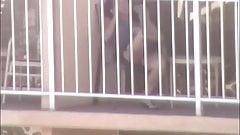 HI Voyeur uppie on a hotel balcony
