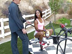 Ebony teen Sara Banks fucks stepdad