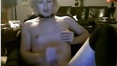 Teen blonde femboy jerks on cam