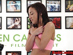 Doggystyle hardfucked teen filmed at casting
