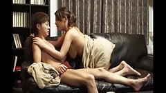 Jap MILF wears in new sofa with lover