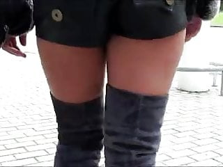 Julie skyhigh's sexy thigh high boots & leather mini short