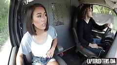 Slim thai teen Aria Skye drilled in the van by big hard stud