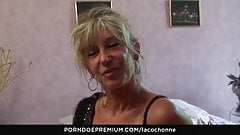 LA COCHONNE - Dirty mature shows off big tits and sucks dick