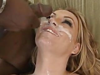 Perfect Aline has three black cocks paint her face