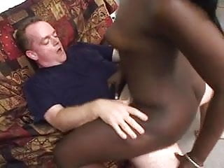 Very dark ebony chick lets white dick creampie her twat