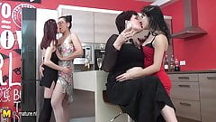 Old and young group sex with 6 lesbians