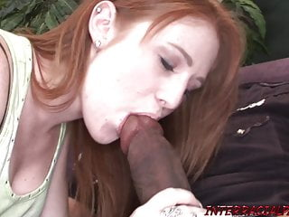 Pale redhead takes huge black cock that doesn't fit