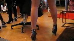 Candid heels in pantyhose workshop