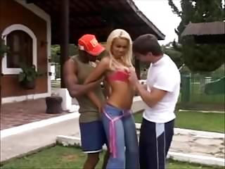 beautiful sexy latin blonde with 2 men