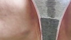 Close-up peeing in grey panties 3