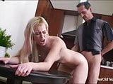 Old teach fucks blonde student on his dinner table