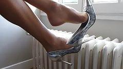 Dangle silver heels