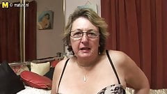 Big granny loves getting wet by herself