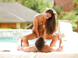 Beautiful couple poolside sex