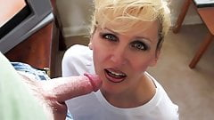 Milf fingers herself and sucks cock