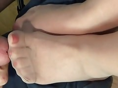 Pantyhose Feet After Work 2 with Cumshots