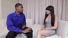 HOT Asian shemale takes Big Black Cock