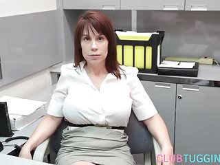 Tug tits - Busty ginger stepmom tugging and titfucking