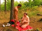 BBW FAT MATURE GRANNY WITH BIG BOOBS FUCKED IN THE FOREST