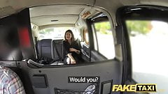 Fake Taxi big facial cum sit`s very HOT  for brunette in stockings