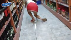 Round Ass Upskirt and Falling at the supermarket!
