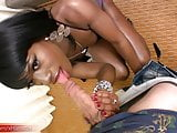 Beautiful black femboy with tight ass sucks big white cock