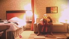 Sexy black tranny plays in hotel room