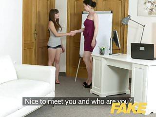 Female Agent Shy french minx in orgasmic dildo casting
