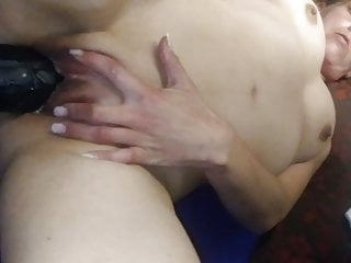 Wife takes big black dildo