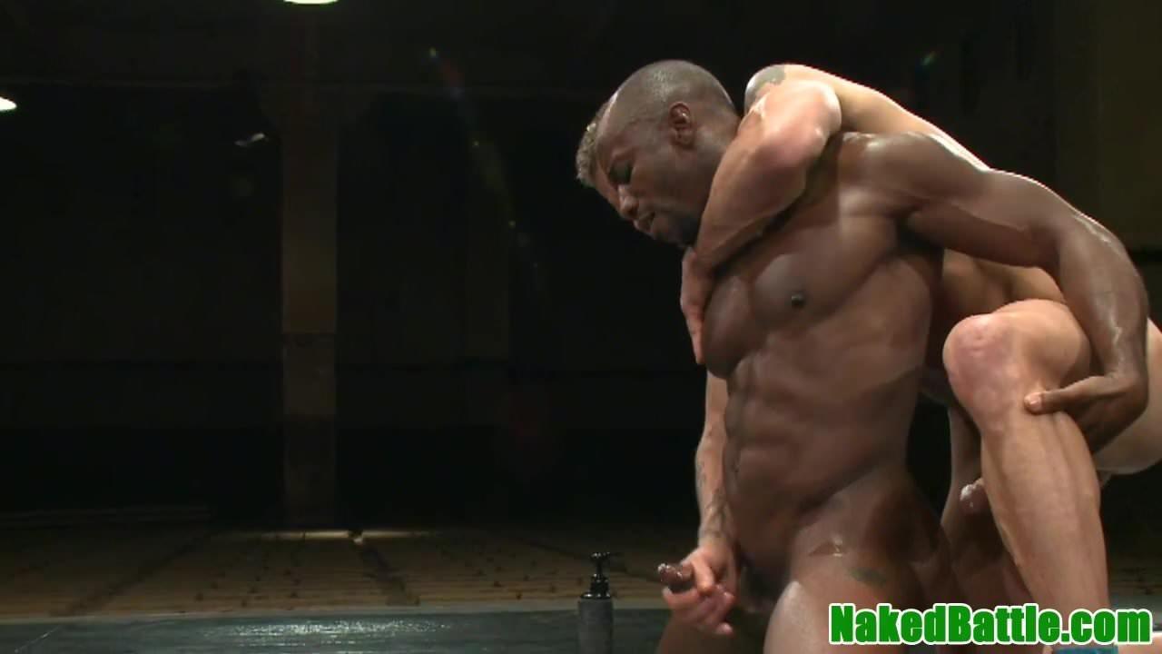 Muscle jock trio and cumshot