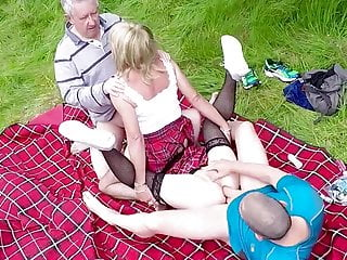 Outdoor Group Fucking. Tgirl Tarts In Tartan