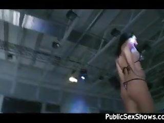 Horny guy fingers a busty stripper
