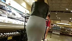 Candid ass in tight gray dress