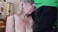 Big boobs granny gets face fucked