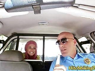 Pink haired teen babe Aidra Fox slammed by the horny cop