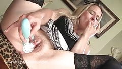 Naughty Maid Tinkerbell toys pussy and takes spunk in mouth