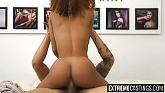 Sexy ebony Kendall getting drilled on a casting sofa