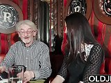 Sexy teen likes to get fucked by grandpa the old man cums on
