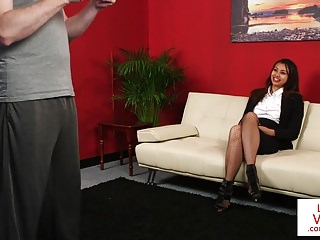 Stockinged cfnm voyeur instructing sub to tug
