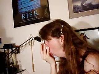 Showing off her deepthroat skills