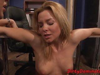 Dominatrix babe pussytoying restrained sub