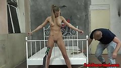 Ball gagged restrained sub whipped and toyed