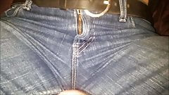 Blowing a massive load on her levis crotch