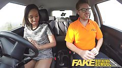 Fake Driving School Pretty black girl seduced by instructor