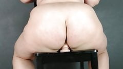 Chubby Blonde BBW PAWG Riding Chair Dildo