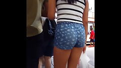 Candid voyeur tight teen tiny shorts hot legs shopping