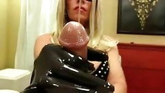 Mistress Teases A Slave Cock With Latex gloves